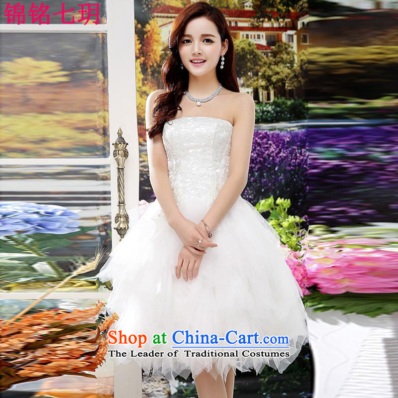 Kam Ming Yue?2015 summer seven new marriages wedding dresses bows services bridesmaid services Ms. evening dress short skirts, White?XL