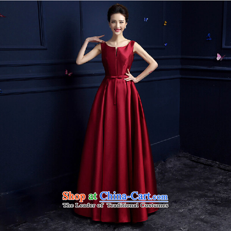 Pure Love bamboo yarn 2015 new red bride wedding dress long evening dresses evening drink service red shoulders dark red dress Sau San long?XL