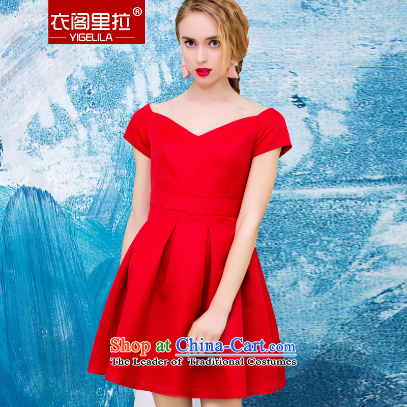 Yi Ge lire stylish large red bride load Sau San bows door onto the service banquet small dress dresses red 61024 S