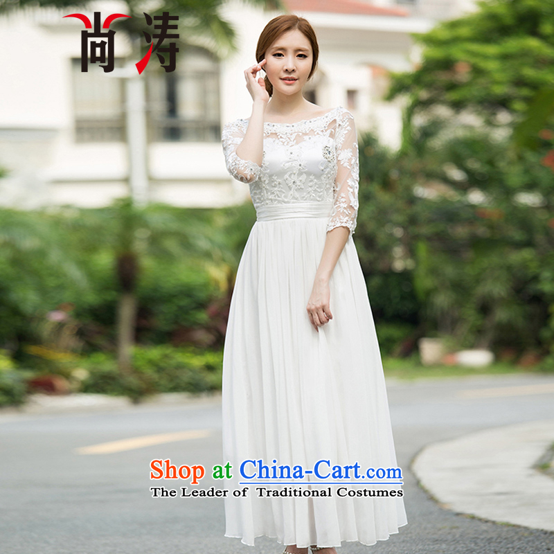 2015 Autumn is women's clothes new diamond temperament 7 cuff dress dresses palace of nostalgia for the peri tourist resort skirt long skirt C0018 white?S