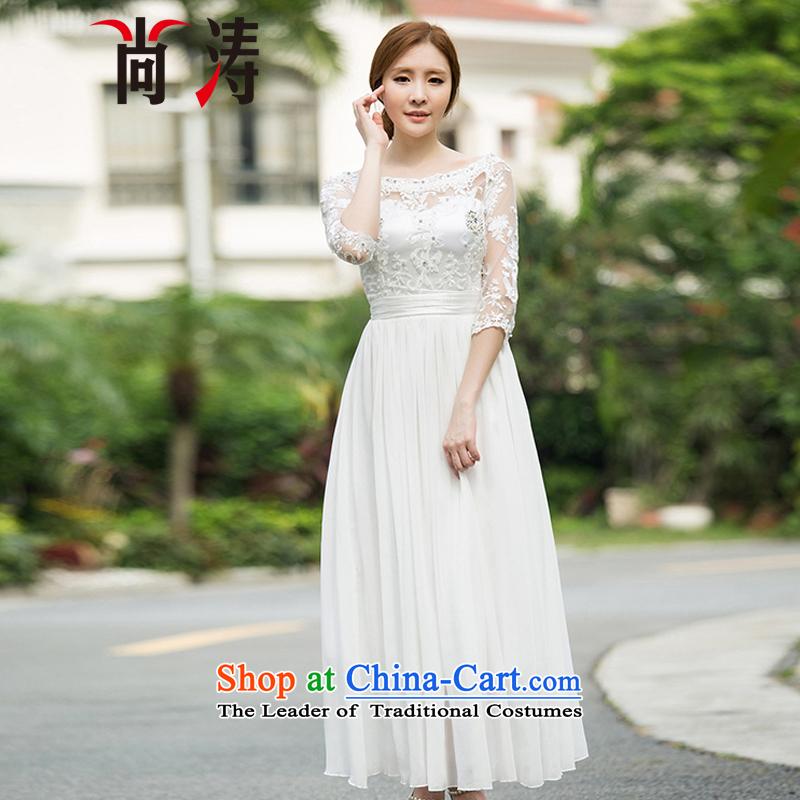 2015 Autumn is women's clothes new diamond temperament 7 cuff dress dresses palace of nostalgia for the peri tourist resort skirt long skirt C0018 white?S