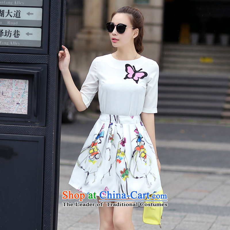 2015 Summer Scent hip little wind stamp chiffon shirt body skirt casual dress Kit5274 White?S