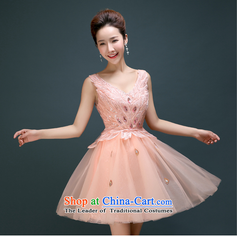 2015 new marriages bows services red_ bridesmaid dress performances will dress Korean dinner summer pink聽S