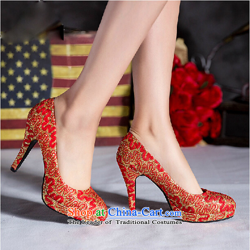 2015 new marriage women shoes high heels sweet flowers waterproof shoes women marry Taiwan Footwear marriage shoes Red?35