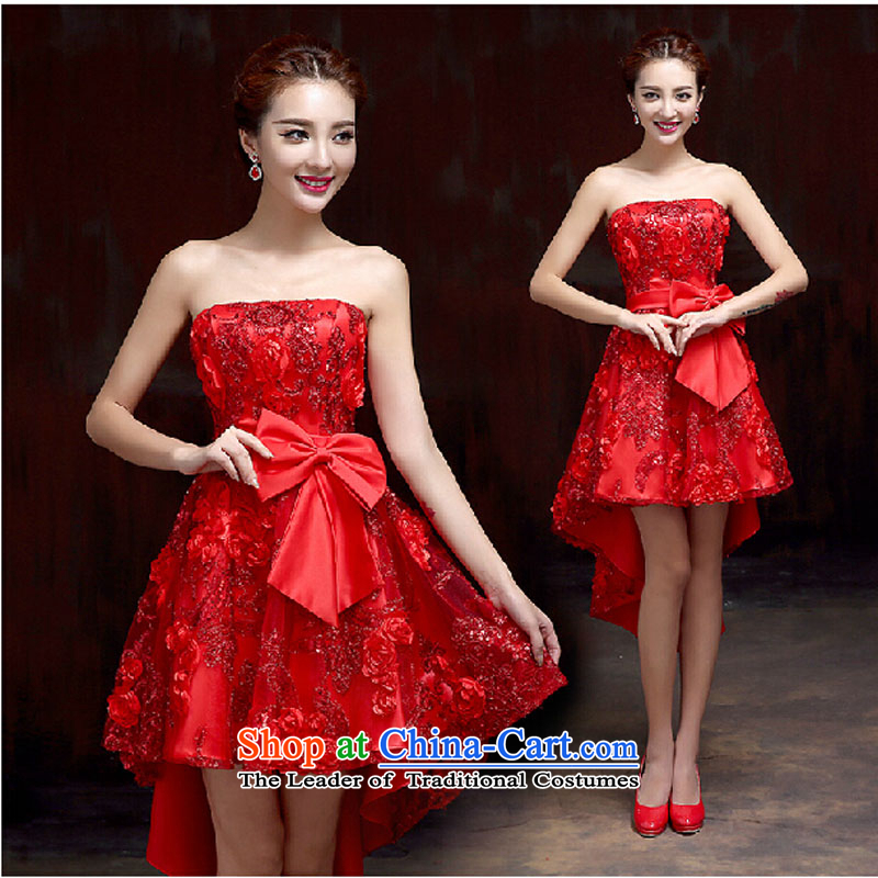 2015 high quality custom anointed bride chest luxurious wedding dresses red spring stylish new bride wedding dress front stub after gown red tailored please contact Customer Service