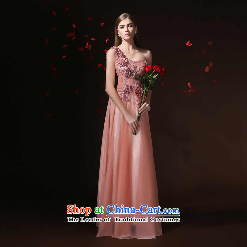 According to Lin Sha evening dresses 2015 new bride wedding dress bows service banquet red stylish shoulder dress long female pink?S