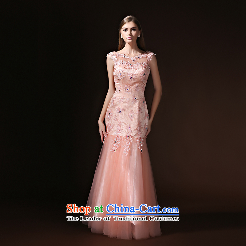 According to Lin Sha evening dresses Sau San crowsfoot long marriages bows bridesmaid evening dresses serving women 2015 new pink?XL