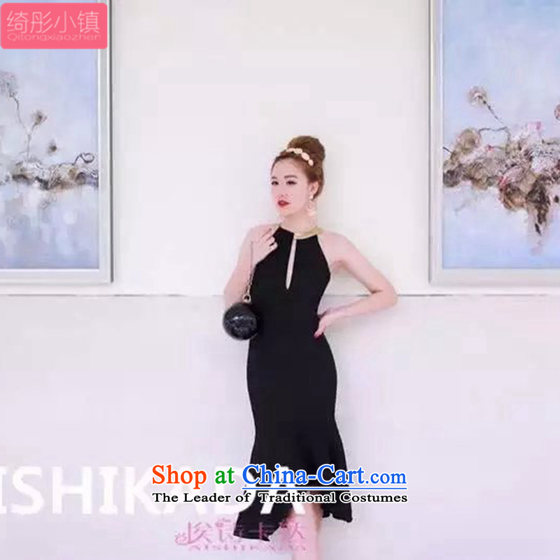 Cheer Tung Summer 2015 Korean Town of new products and stylish aristocratic elegant simple and classy temperament Sau San video thin shoulders back to history in a crowsfoot long skirt black�S