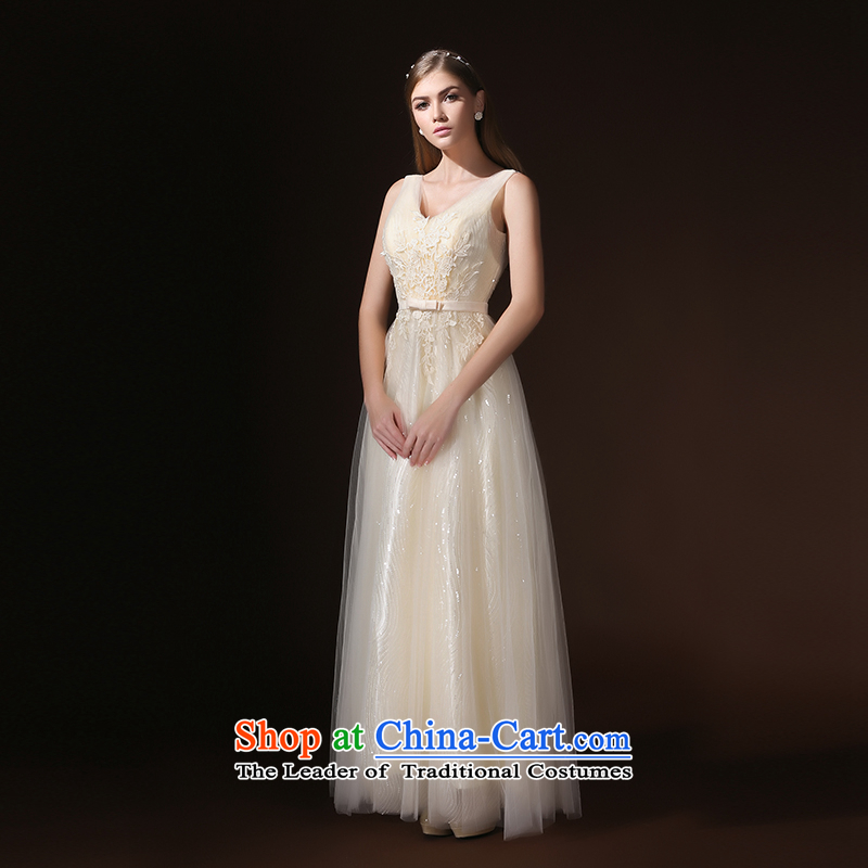 According to Lin Sha 2015 new bridesmaid dress long drink service marriages sister services under the auspices of annual meetings of the Evening Dress Suit skirt champagne color XL