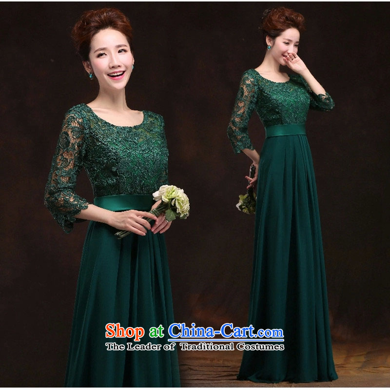 Long-sleeved clothing brides toasting champagne evening dresses long stylish shoulders Sau San banquet evening bridesmaid services exhibition of the new green S
