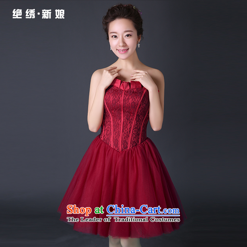 2015 new bride Services Mr Ronald marriage services bows and short of chest dress banquet dresses Red Red�M�Suzhou Shipment