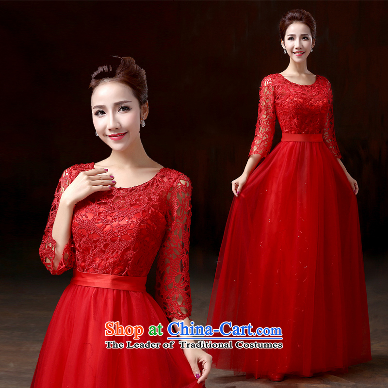 Evening dress long gown bows services 2015 bride shoulders video thin bridesmaid dress a field shoulder lace dress toner red?L