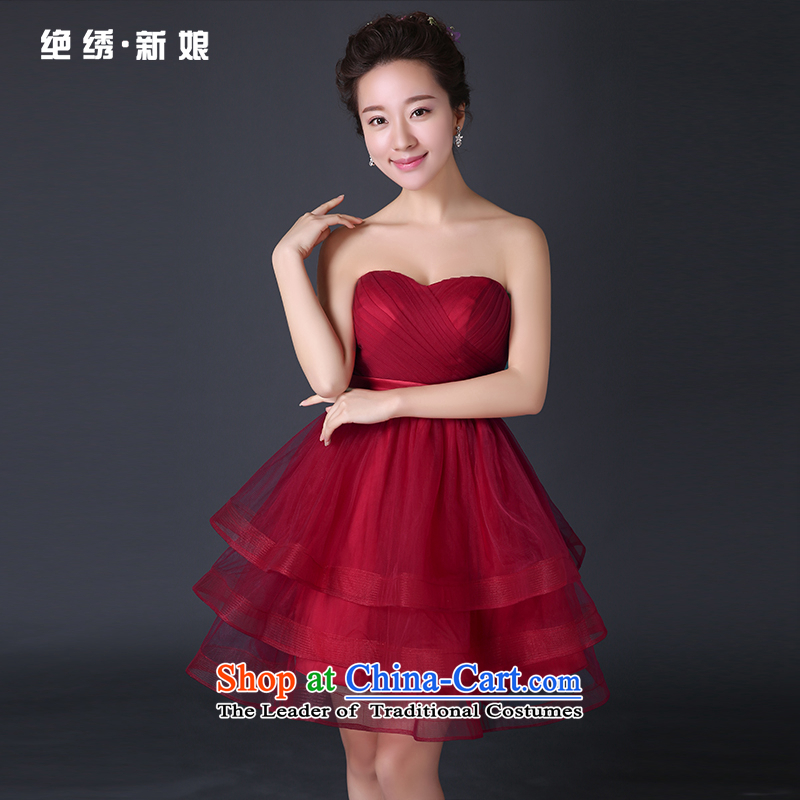 Toasting champagne bride services 2015 new summer bridesmaid services shoulder red, dresses marriage skirt Sau San Female Red�L�Suzhou Shipment