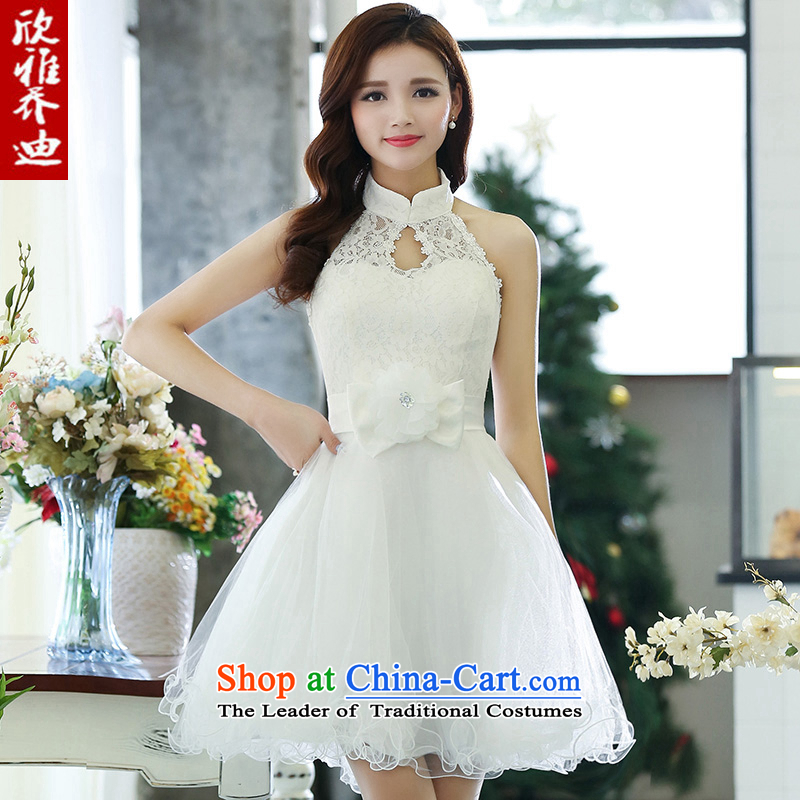 Yan Nga Jodie bridesmaid dress new spring 2015 new products sleeveless short skirt lace evening dress marriages services white?L