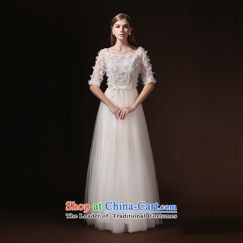 According to Lin Sha evening dress the Word 2015 new long-sleeved bride bows services shoulder summer evening dress moderator long beige�S