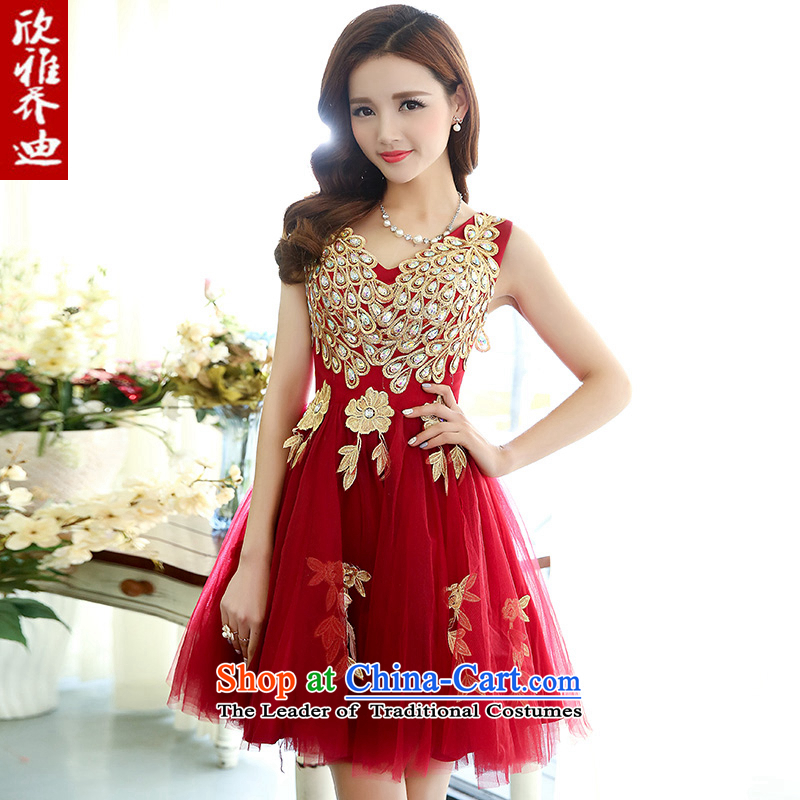 Yan Nga Jodie 2015 wedding dresses new stylish engraving dress White Peacock Figure Sau San bon bon skirt stage costumes wine red?S