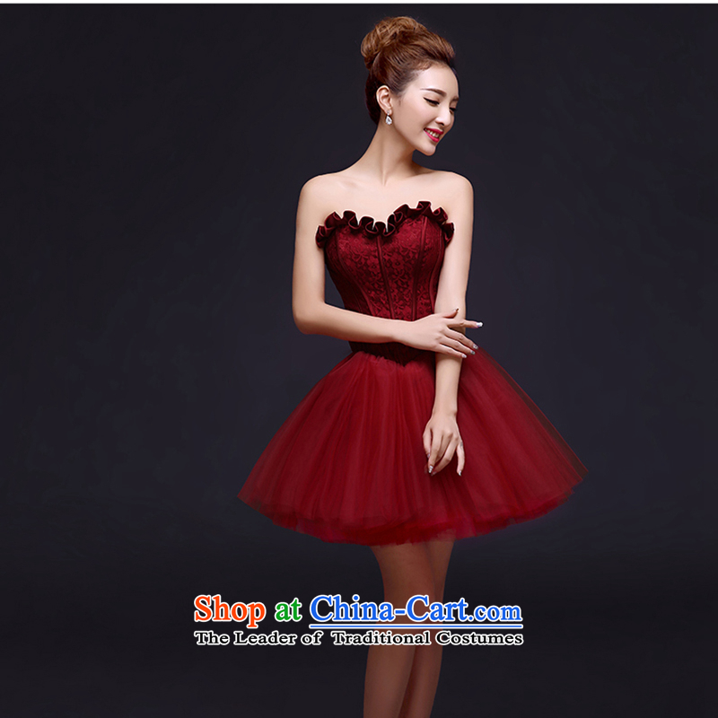 Evening dress 2015 Spring Banquet small Dress Short of a marriage bows service bridal dresses dresses summer female wine red�S