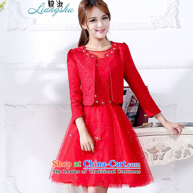 Mrs 2015 autumn and winter talks with the new Korean fashion round-neck collar bride dress bows to the skirt jacket two kits female red. M