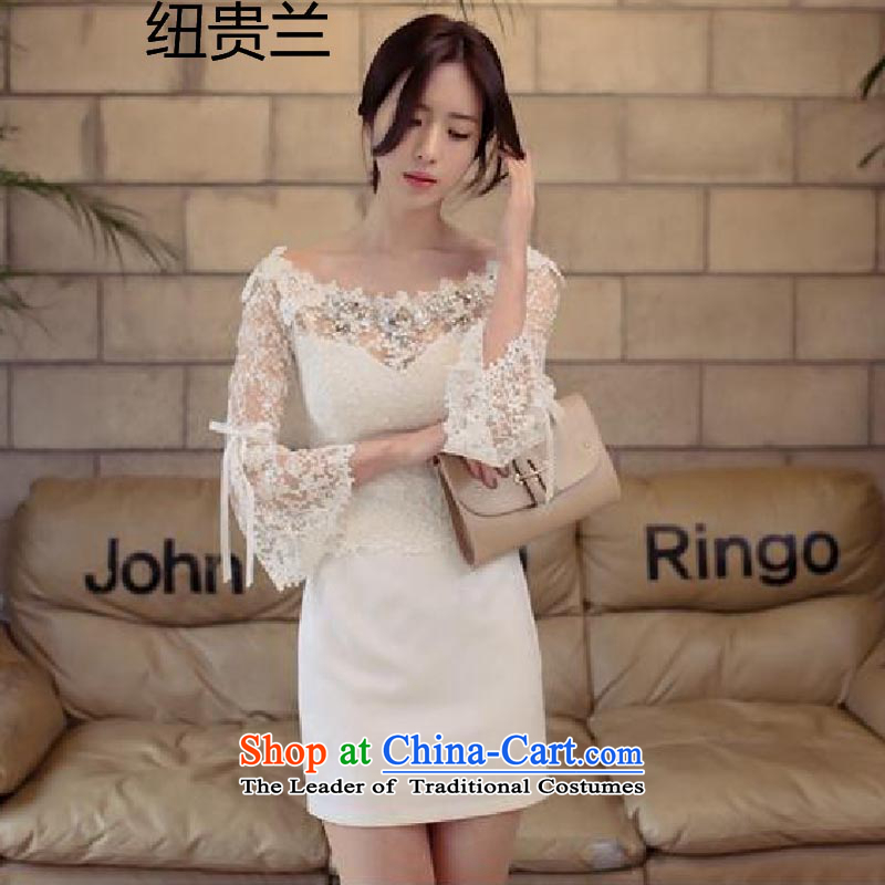 The estimated 8207 cannot locate Korea nz aristocratic wind heart-field for ngai embroidery skirt the word shoulder bare shoulders dress skirt female white?M