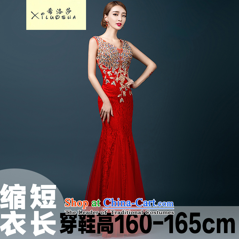 Hillo XILUOSHA) Lisa (dress 2015 new wedding dress bows service bridal dresses shoulders crowsfoot Sau San bows dress long chinese red - align to shorten yi?s