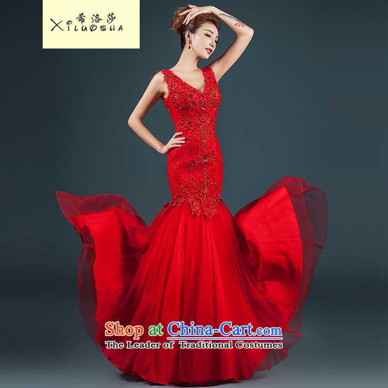 Hillo XILUOSHA) Lisa (dress 2014 New Service bridal dresses bows of Sau San crowsfoot shoulders stylish wedding dress red L