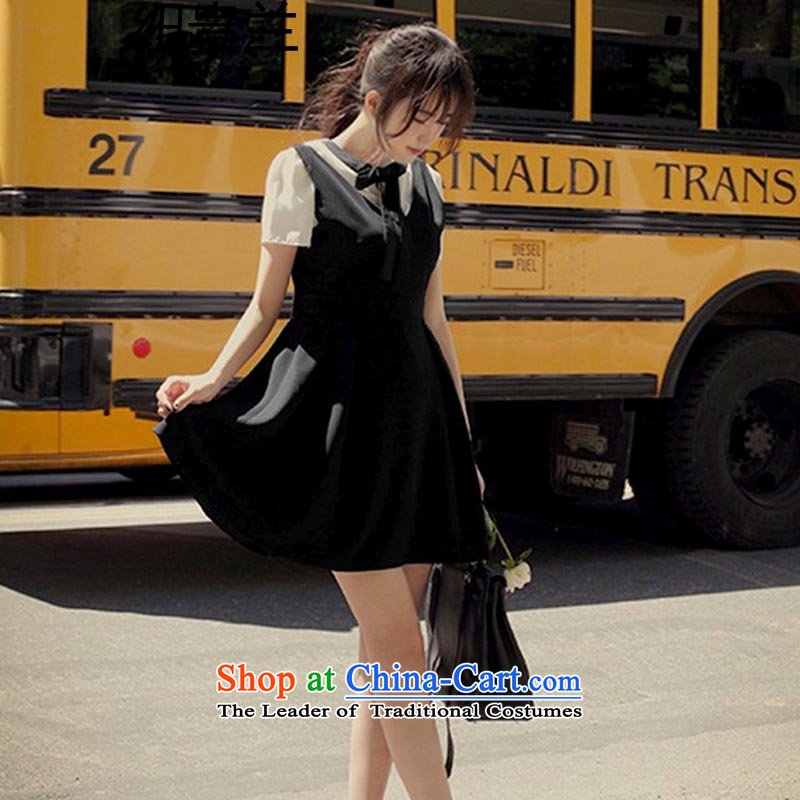The estimated 8039# NZ summer new strap and sexy back deep V-Neck Bow Tie dress dresses nightclubs replacing gift pack Black�M