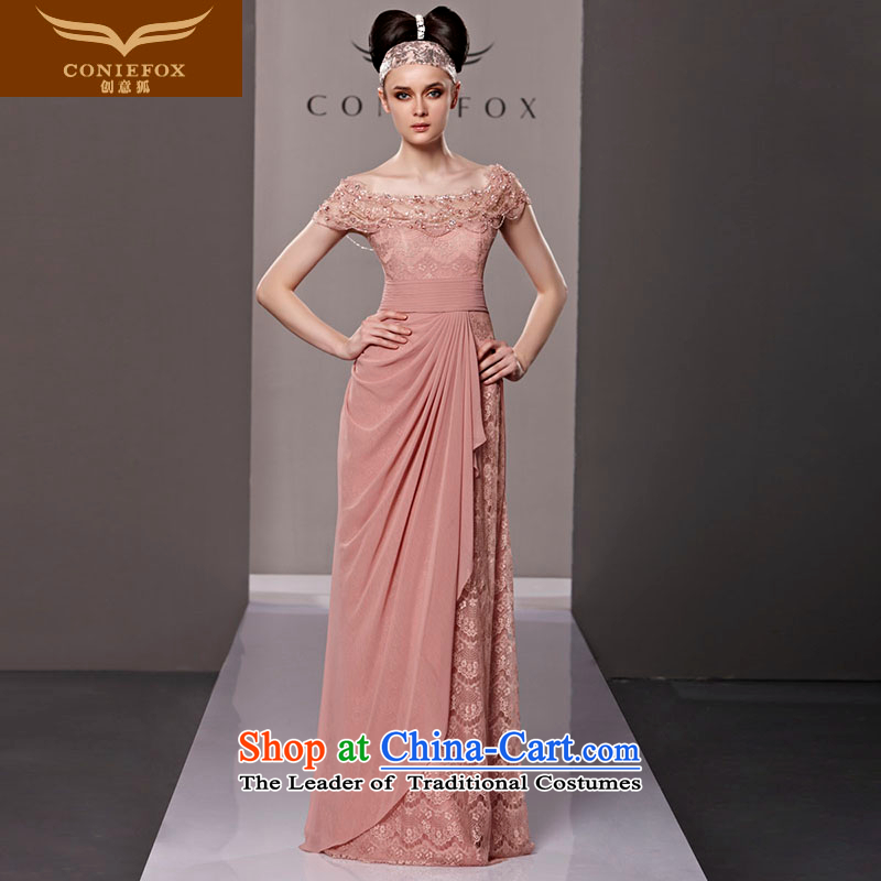 Creative Fox evening dresses and sexy word shoulder pink bride wedding dress evening drink service     elegant long lace auspices dress skirt 81315 picture color�L