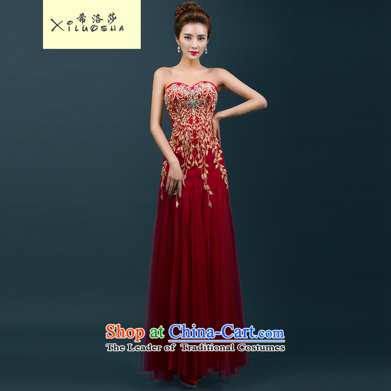Hillo XILUOSHA) Lisa (bride red wedding dress bows and chest service banquet evening dresses 2015 annual meeting of the new dresses long wine red?M
