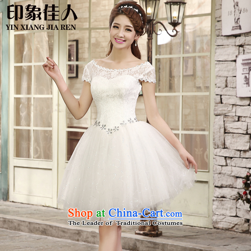 2015 Summer bridesmaid dress with short of bridesmaid lace small dress skirt marriages wedding dress bows bridesmaid services L1002 services whiteL, starring impression shopping on the Internet has been pressed.