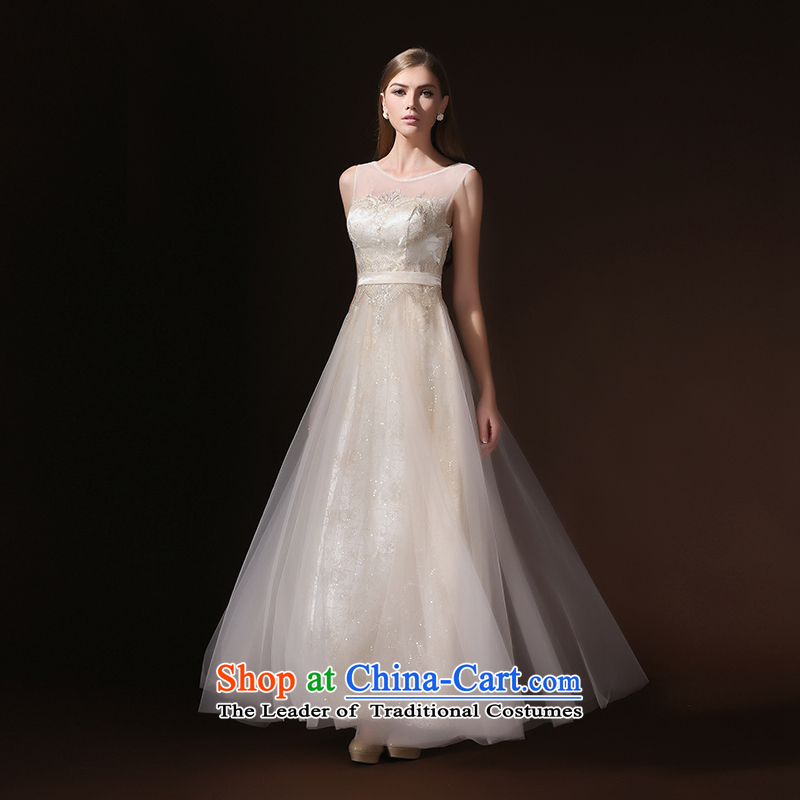 According to Lin Sha 2015 new bride bows Services Mr Ronald Western lace, Champagne evening dresses long champagne color?XL