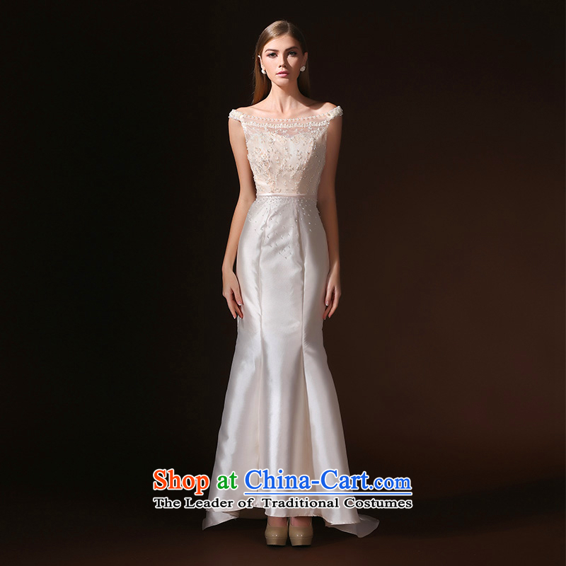 According to Lin Sa 2015 Spring/Summer Ms. new bride wedding dress evening dresses bride bows service     crowsfoot champagne color?M