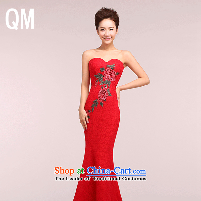 The end of the light of Sau San bows and Chest dinner serving embroidery cheongsam dress�WMBLF1215�red�S