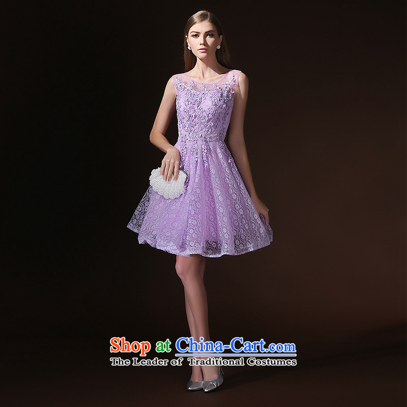 2015 new back bridesmaid dresses summer short of serving purple sister evening dresses bride services with a light purple bows?M
