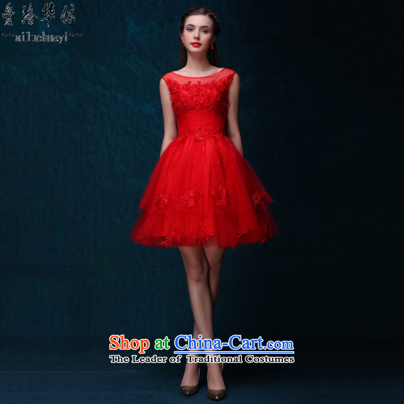 2015 new red short of summer uniforms bows dresses lace Sau San marriages evening dresses bon bon skirt RED M