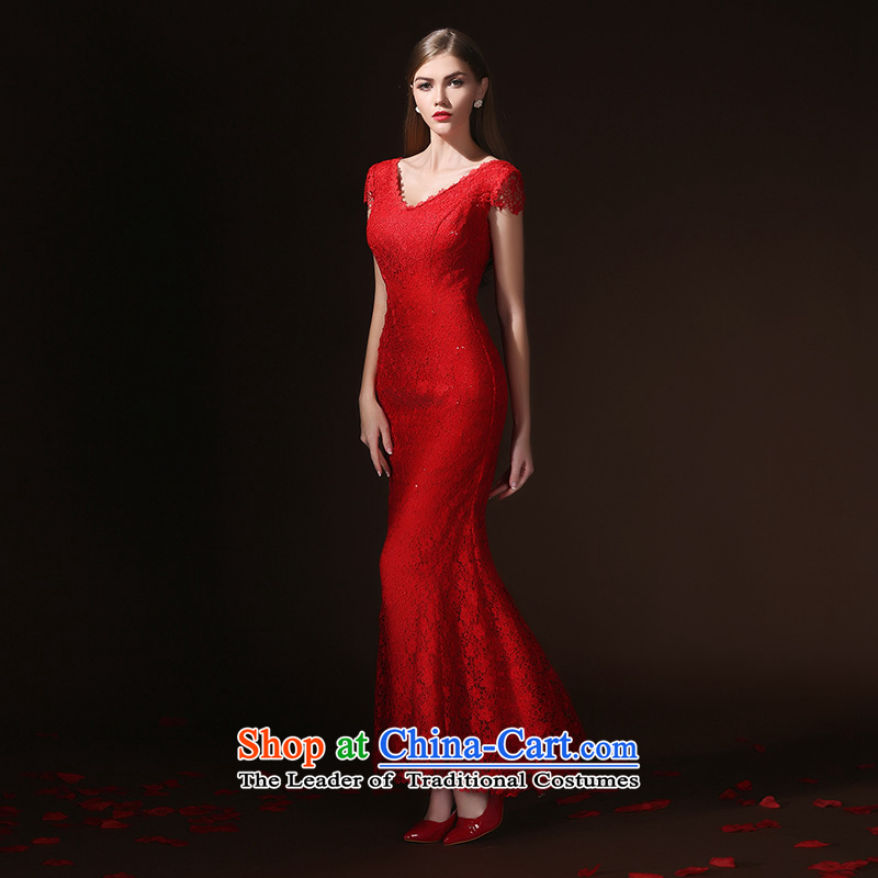 According to Lin Sha bows Service Bridal Fashion bows services evening dresses long crowsfoot Sau San slotted shoulder wedding wedding dress spring and summer red�XL