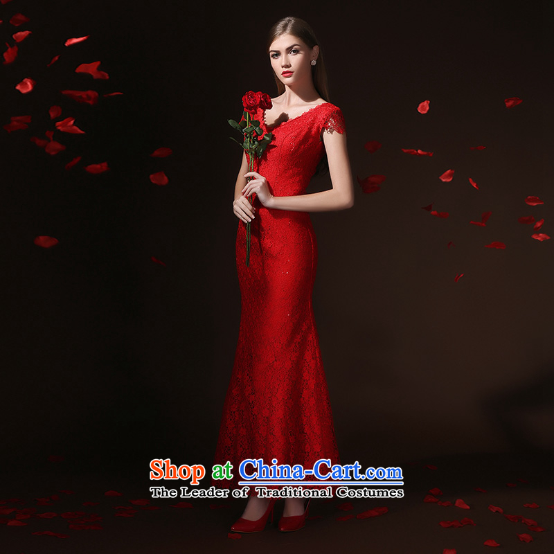 According to Lin Sha bows Service Bridal Fashion bows services evening dresses long crowsfoot Sau San slotted shoulder wedding spring and summer wedding dressaccording to Lin Sha Red XL, , , , shopping on the Internet