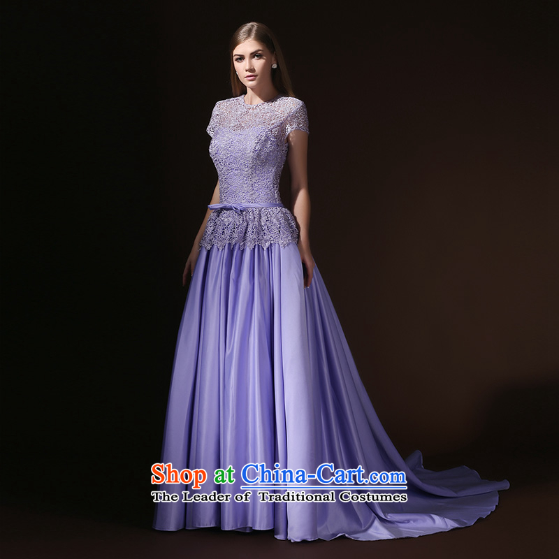 Evening dress new bows services 2015 banquet moderator costumes annual long-tail female dress wiping the chest with a light purple�S