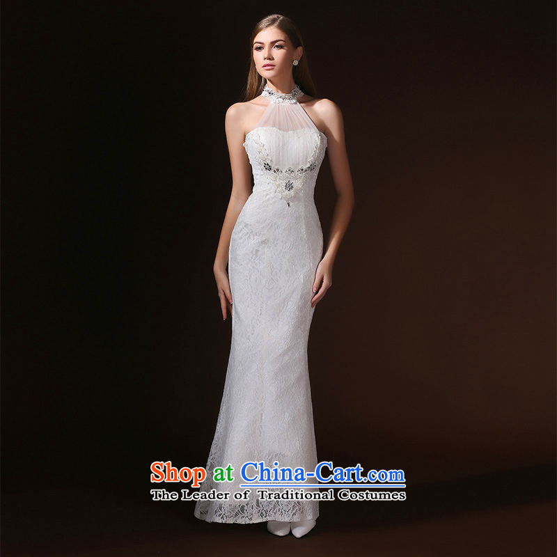 In accordance with the Korean version of stylish Elizabeth Lin long evening dresses aristocratic banquet night mount also serving drink Sau San Red Carpet dress white?S