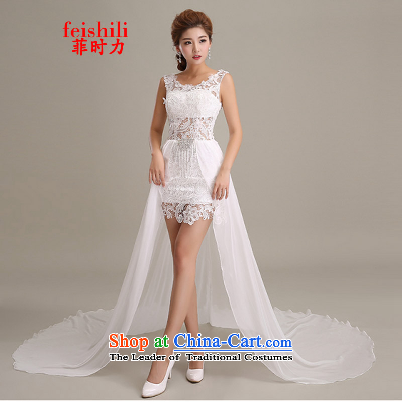 The Philippines,?2015 sin temperament tail lace evening dress dresses FF-2F-D08_3088 White?M