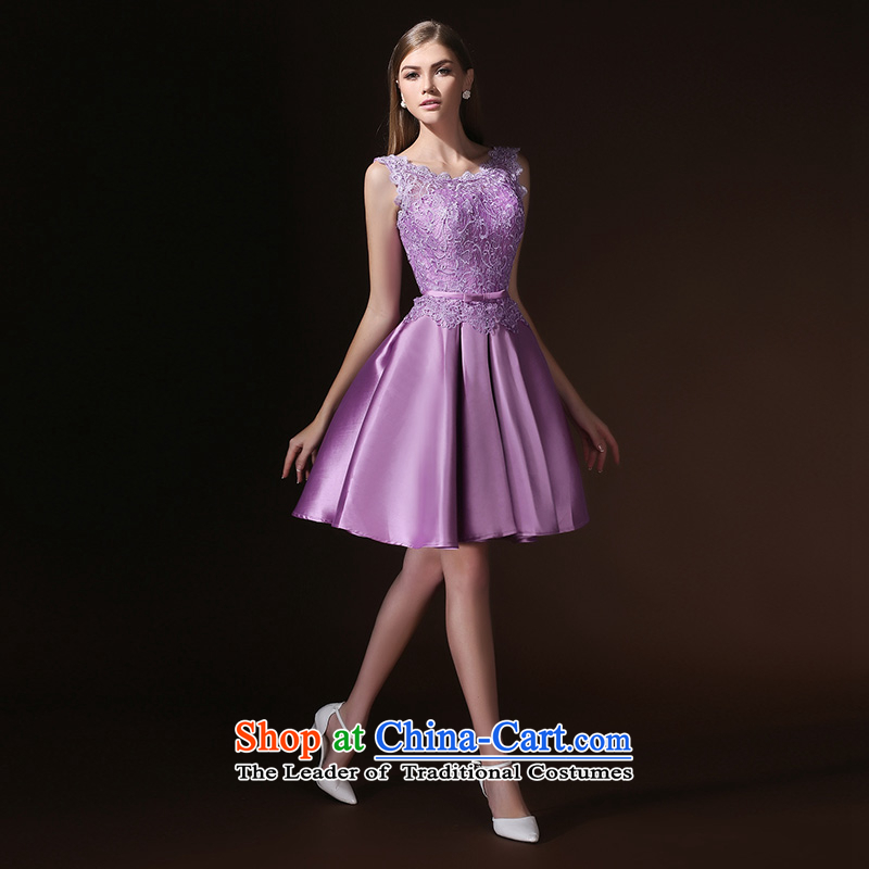 According to Lin Sha 2015 New banquet wedding dresses skirt bridesmaid small dress lace Korean short spring and summer evening dress) light purple�XL