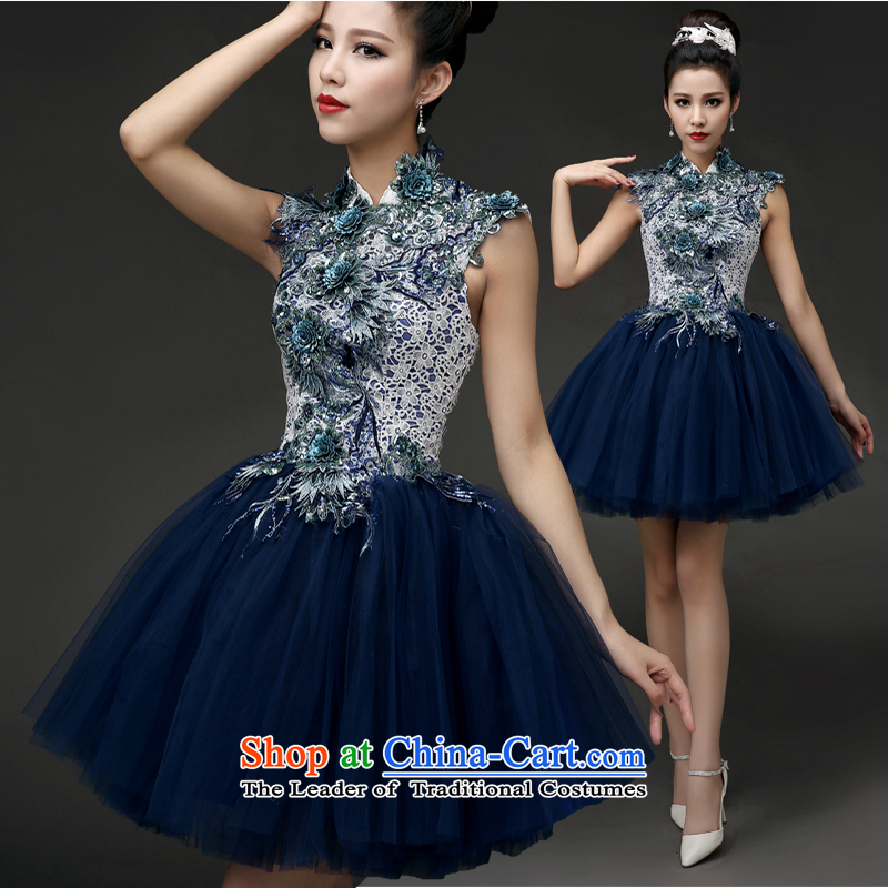 Dress dresses Summer?2015 new bridesmaid evening dress Korean short of the small dining dress moderator dress girl?S deep blue