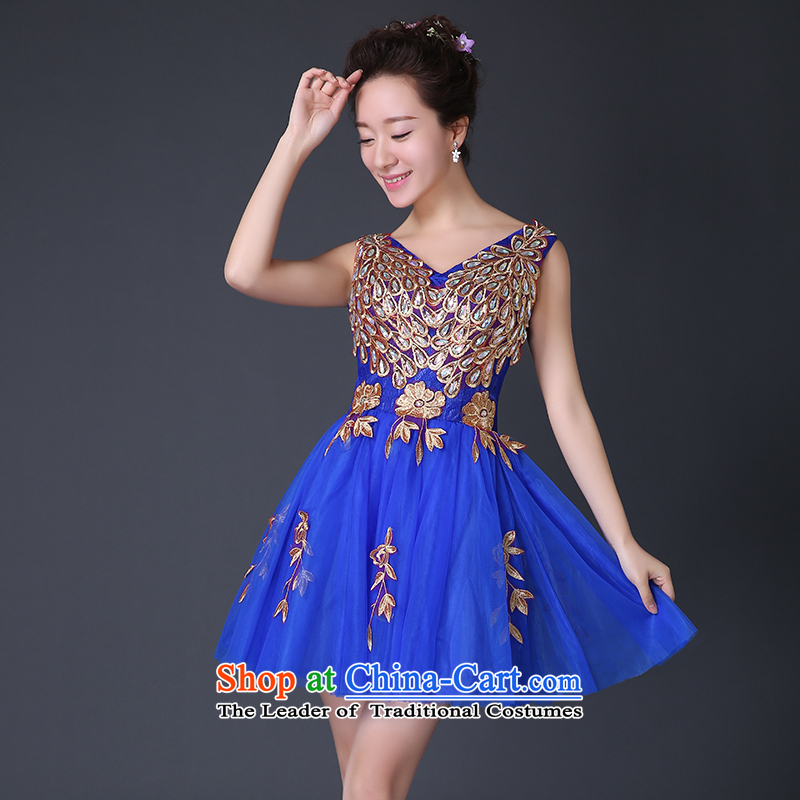 The spring and summer of 2015, the bride new package shoulder video lace bows services thin red short of marriage wedding dress blue tailor-made be NO refund