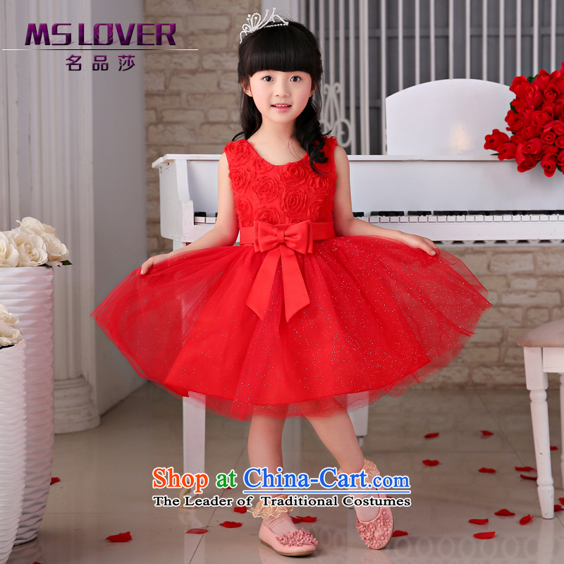 The new 2015 mslover flower girl children dance performances to dress dress wedding dress TZ150504 red 12 Code