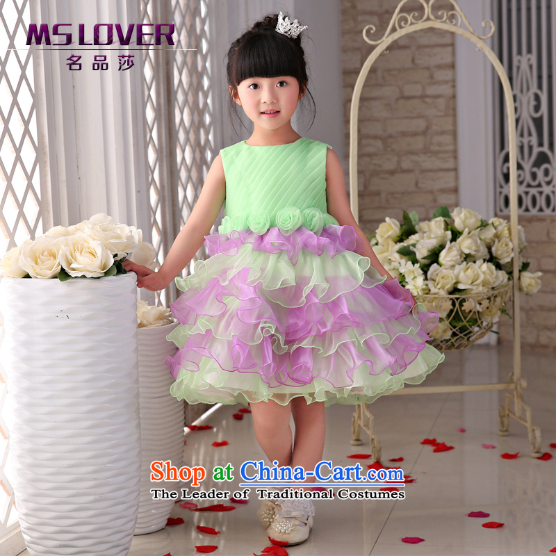 The new 2015 mslover flower girl children dance performances to dress dress wedding dress?TZ1505012?Green?10 Code
