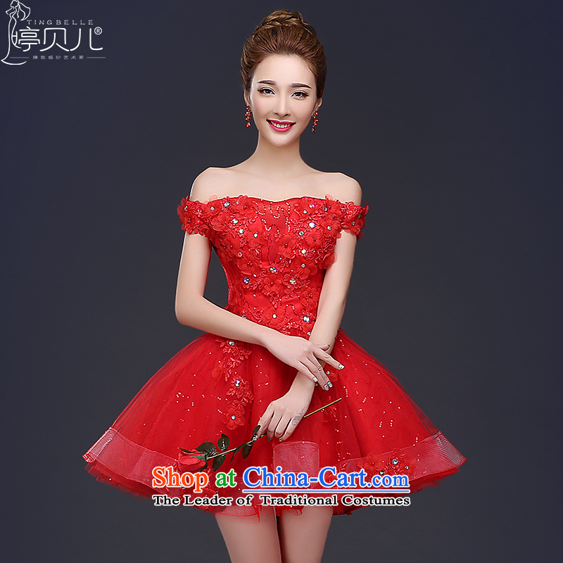 Evening dress the new bride toasting champagne 2015 Service, Mr Ronald graduated from red dress the word shoulder the betrothal wedding dress red?XL