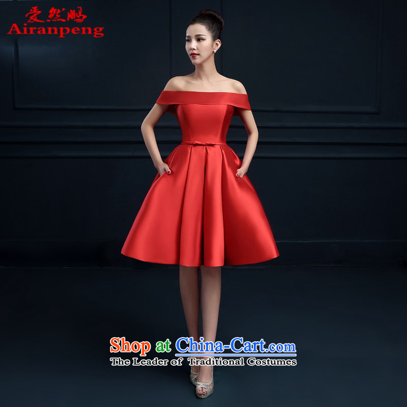 The word love so Peng shoulder banquet dresses 2015 new short summer evening dress) Gathering of Female dress bride services red red?XXXL bows need to do not support returning