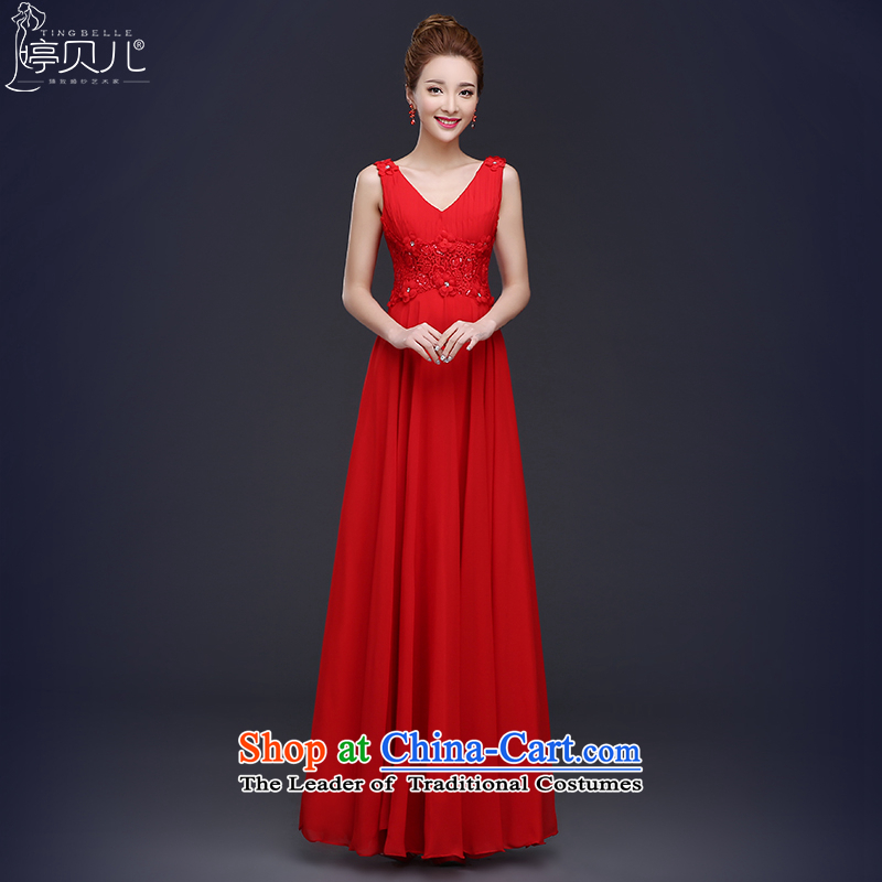2015 new bride bows Services Mr Ronald red wedding dress female spring long shoulders v-neck evening dress Sau San Red?L