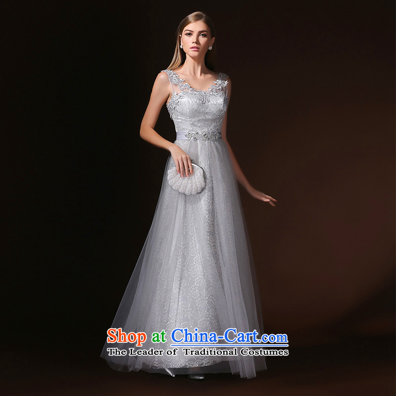 According to Lin Sha banquet evening dresses 2015 new bride shoulders bows services performed by the persons chairing the summer evening dress long female gray?XL