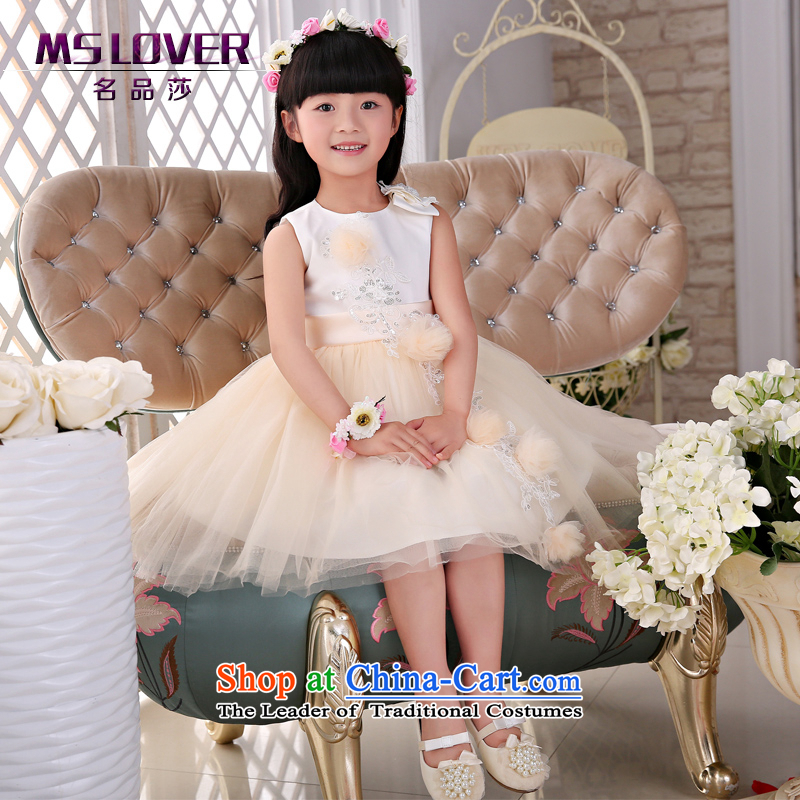 The new 2015 mslover flower girl children dance performances to dress dress wedding dress?TZ1505040?white?12 Code