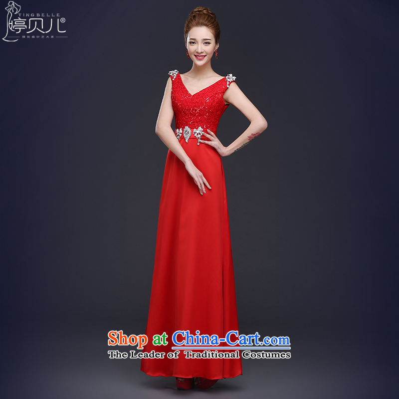However Services Mr Ronald 2015 new shoulders dress marriages bridesmaid to Sau San long banquet evening dresses female Chun Red?XL